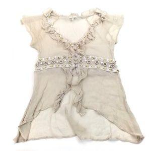 JOIE Sheer Silk Cream Bead Embellished Blouse